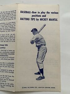 Vintage 1962 BASEBALL BATTING TIPS by MICKEY MANTLE Booklet NEW YORK YANKEES
