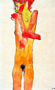Girl Nude with Folded Arms by Egon Schiele A1 High Quality Canvas Print