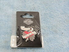 Harley Davidson Heart and Chain Tatoo HAT JACKET PIN  NEW SEALED! Vintage Pin