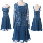 Vintage mother of the bride dress Short formal evening gown & lace Free jacket