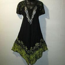 Dress XL 1X Plus Black Yellow Batik Palm Trees Lace Sleeves A-Shaped NWT TM223