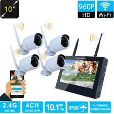 "WIFI 10"" TFT 4CH 960P HD Wireless CCTV DVR Wifi IR-CUT IP Camera Security System"