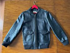 Topman Topshop Men's Black Leather Jacket Bomber - Size M