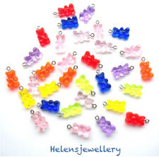 WHOLESALE - 25 GORGEOUS YUMMY GUMMY BEARS CHARMS RESIN WITH HOOKS FOR JEWELLERY