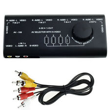 4 in 1 AV Audio S-Video Signal Switcher Splitter Selector Out AV RCA Switch Box
