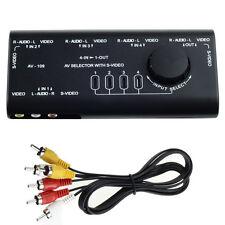 4 in 1 AV Audio S-Video Signal Switcher Splitter Selector Out AV RCA Switch Box