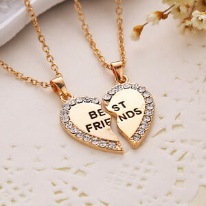 Gold Tone Heart Best Friend Rhinestone 2 Pendants Necklace Gift Bff Friendship