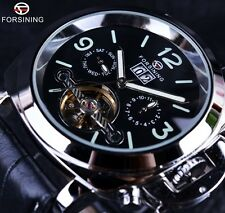 Forsining Fashion  Leather Band Men's Luminous Tourbillon Mechanical Wrist Watch