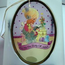 Precious Moments Christmas Ornament Nib 1996 Glass Little Girls Reading Jesus