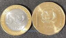 DOMINICAN REPUBLIC SET 1 + 5 PESOS 2002 UNC 2 NEW COINS G434