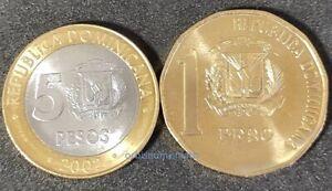 DOMINICAN REPUBLIC SET 1 + 5 PESOS 2002 UNC 2 NEW COINS G434