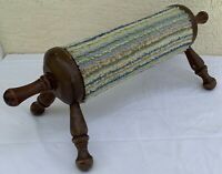 Wood Rolling Pin style Gout Stool wooden fabric roller center foot relief rest