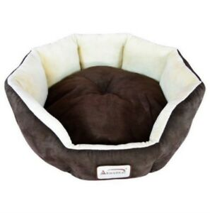 Mocha Beige Round Oval Small Pet Cat Or Dog Bed