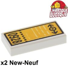Lego - 2x Tile decorated 1x2 ticket billet train 0928 3069bpb029 4513 4511 NEUF