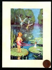Fairies Pixie Children Waterlillies Lake Trees - Blank Note Greeting Card New
