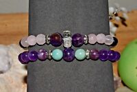 Amethyst Amazonite Lepidolite Bracelet Rose Quartz Stress Anxiety Relief