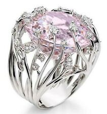 Designer 925 Sterling Silver Cocktail Ring CZ Pink Sapphire 17mm diameter