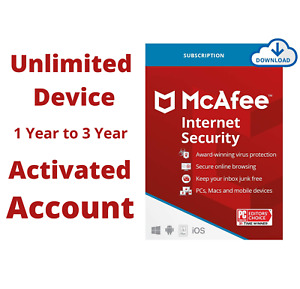 McAfee Premium Internet Security Subscription 2021 Unlimited Device 1, 2, 3 Year