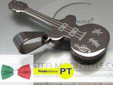 Collana Ciondolo Uomo Donna in Acciaio Inossidabile a Forma di Chitarra Musica!