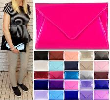 New Extra Large Faux Leather Patent Clutch Bag Evening Bag Envelope Shoulder Bag