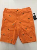 Polo Ralph Lauren Embroidered Lizard Chino Shorts Big Boys Orange Size 16 NWT