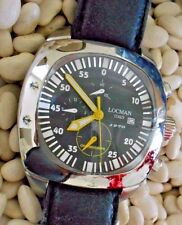 LOCMAN Large 1970 Black Quartz Chronograph Black Leather