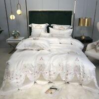 Bedding set 4pcs Luxury silky cotton embroidery Duvet cover Flat sheet set Crown