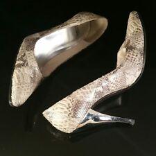 "Stuart Weitzman Gold Silver Patchwork Snakeskin Pump 3.5"" Heel"