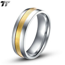 TT 7mm Two-Tone Gold Stripe Stainless Steel Weddng Comfort Band Ring (R107)