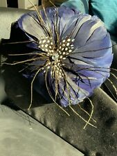 Vintage Navy Blue Facinater Feather With Clip