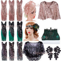 Flapper 1920s Dress Vintage Gatsby Sequin Beads Fringe Dresses Costume Size 6-18