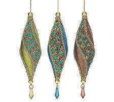 Set 3 Peacock Christmas Ornaments Glitter Beads Marquise Shape Burton&Burton