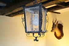 VINTAGE Francese in Vetro Portico Luce Lanterna ferro battuto