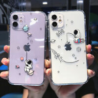 For iPhone 11 Pro Max XS XR X 7 8 Cute Astronaut Patterned Clear Gel Case Cover