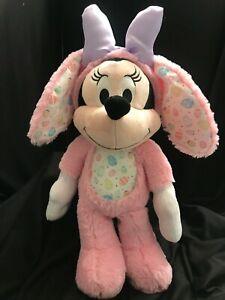 "Disney Minnie Mouse Easter Bunny Rabbit Pink Soft Plush Stuffed Animal 18"""