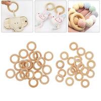 40Pcs Natural Wood Circles Beads Wooden Ring DIY Jewelry Making Crafts DIY