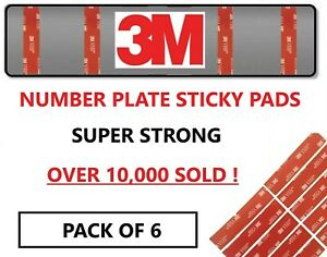 6 x NUMBER PLATE STICKY PADS FIXINGS KIT 3M VERY STRONG BOND DOUBLE SIDED TAPE