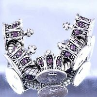 5pcs Charm Gateway White GF/Silver Purple CZ european Beads Fit DIY Bracelet