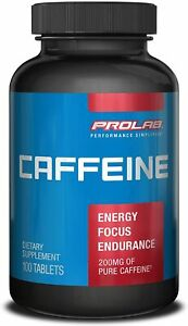 PROLAB Caffeine Supplement 200 mg 100 Tablets Caffeine Pills 200mg Energy