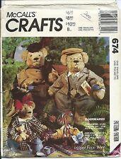 M 674 sewing pattern 2 sizes BEAR DOLLS & CLOTHES, BAG sew stuffed Animals UNCUT