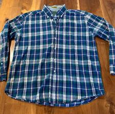 Men's Native Habitat Planet Earth Plaid Multicolored Button Up Shirt Size L