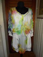 ROBE courte tunique chemisier assorti QUATTRO 48F 46D polyester/lin blanc fleuri