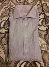 T.M. Lewin Men Button Collared Shirt Blue Checked Size 17 1/2 Two-Fold Cotton