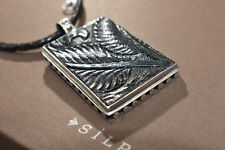 Silpada RARE Sterling Silver Leather Pendant on Leather Braided Necklace N1101