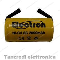 Batteria SC 1.2v 2000 mAh ni-cd ricaricabili per saldatura