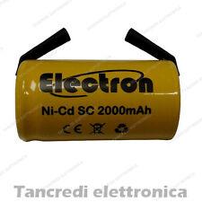 BATTERIA PILA NiCd SC 1,2v 2000 mah a saldare TRAPANO AVVITATORE Ni-Cd 22x42mm