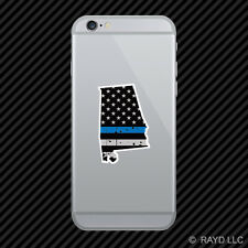 Distressed Thin Blue Line Alabama State Shaped Subdued US Flag Phone Sticker AL