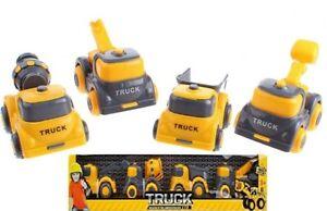 Construction Vehicles Toy Set Digger Crane Dump Truck Cement Mixer 8cm AGE 3+