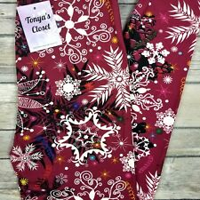2018 Snowflake Holiday Leggings Christmas Print Buttery Soft ONE SIZE OS