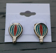 Hot Air Balloon Stud Earrings Silver Tone Metal & Green Red Turquoise Color